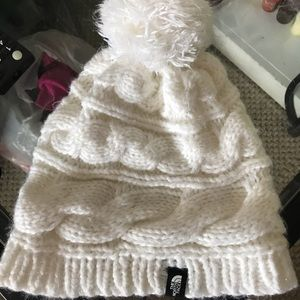 Women's white fluffy north face hat